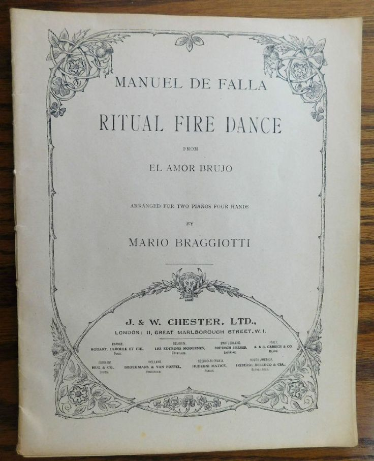 Manuel de Falla Ritual Fire Dance copyright 1921 from the ballet El Amor Brujo Arranged for piano duet Two pianos Four hands by Mario Braggiotti