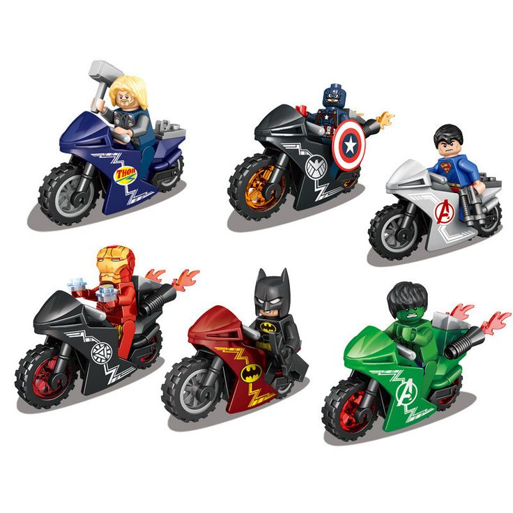 6Pcs Super Heroes With Motorcycle Minifigures Thor Captain America Superman Ironman Hulk Batman Action Figure Toy Gift //Price: $16.22 & FREE Shipping //     #actionfigurecollectors