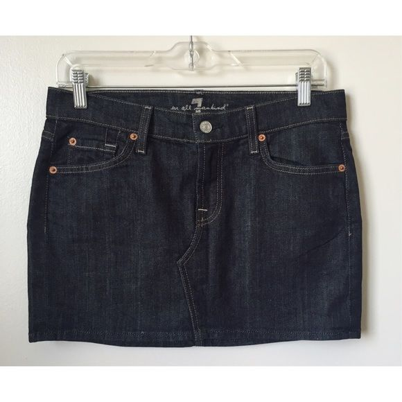 7 for all mankind denim roxy skirt size 28 Never worn. No trades. 98% cotton, 2% lycra. Made in USA 7 for all Mankind Skirts