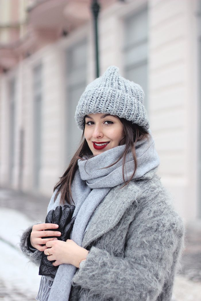 all grey with red lipstick