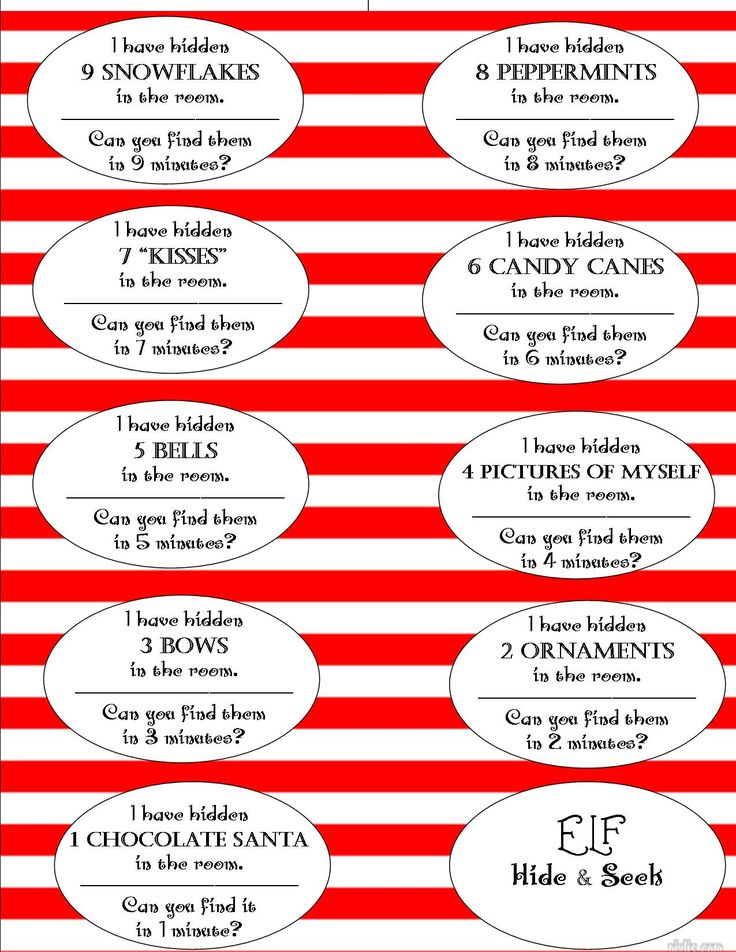 Elf Hide Seek Scavenger Hunt Free Printable Cut Apart