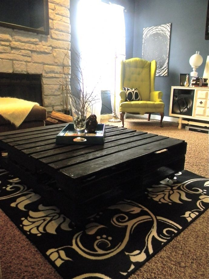 DIY Pallet Coffee Table. Black & White Modern Home. Okay staff... here's a new use for those wooden pallets we use at work! hahaha.