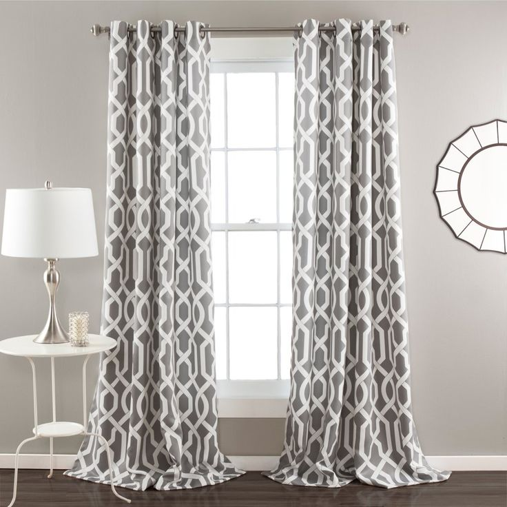 Half Moon Edward Window Curtain Set - A contemporary trellis pattern, choice of colors, and metal grommet hanging system make this Half Moon Edward Window Curtain Set a sophisticat...