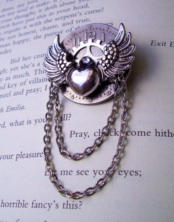 Steampunk Pin A565 Silver Winged Heart by DesignsByFriston, $20.00