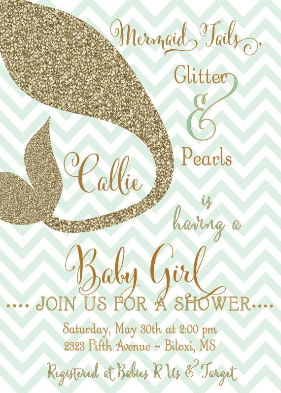 Baby Girl Shower Invitation Mermaid Tails By Generationsink