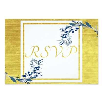 Elegant Floral Gold Colored and Blue RSVP Card - gold wedding gifts customize marriage diy unique golden