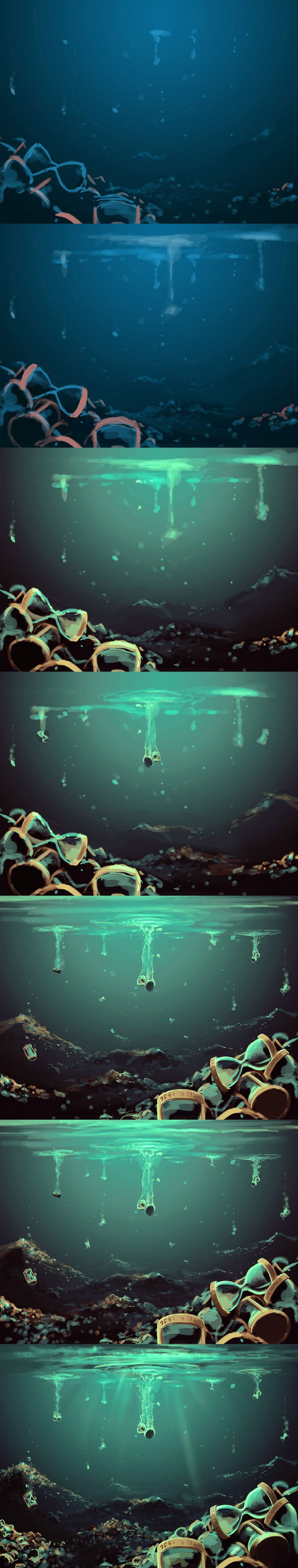 by `AquaSixio on deviantART/this would be a really cool idea for the pool of souls,where death keeps her souls in there flashing of thier lives in .