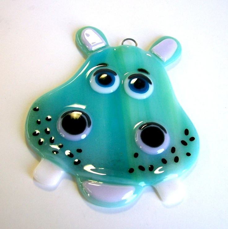 Fused Glass Suncatcher - Hippoptamus (Turqoise). $13.50, via Etsy.