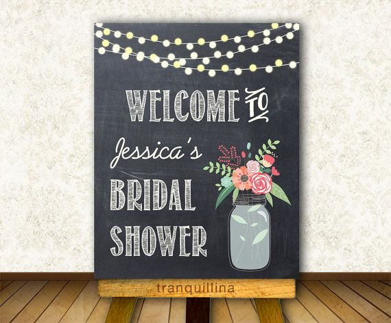 Printable Welcome Sign Digital File  Bridal Shower by tranquillina