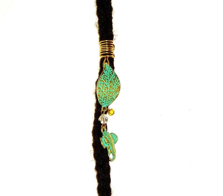 Dreadlock Jewelry - Turquoise and Gold Textured Leaf and Elephant Charm Loc Jewel by TumbleGems on Etsy
