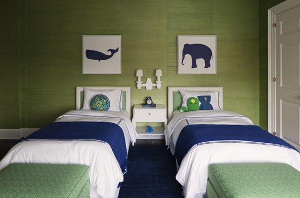 Suzie: Lauren Stern Design - Adorable blue & green boy's bedroom design with green grasscloth ...