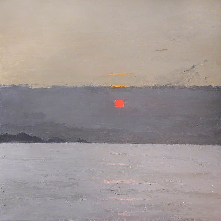 "kyffin williams, ""sunset"" oil on canvas"