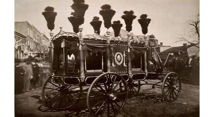President Abraham Lincoln was assassinated. Photo of his hearse in 1865.
