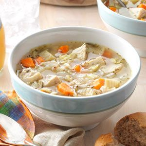 Italian Chicken Soup Recipe- Recipes  This satisfying soup gets its Italian flair from fennel, thyme, basil and orzo pasta. If you don't start with a low-sodium or sodium-free stock, advises our Test Kitchen stay, you might want to decrease the amount of salt called for in the recipe.