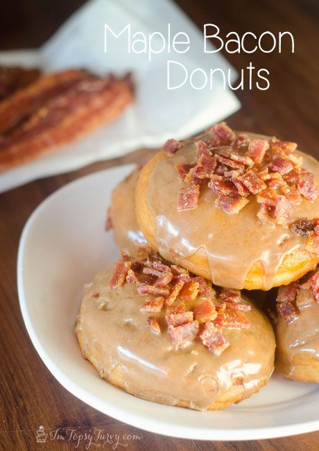 an easy and delicious recipe for homemade maple bacon donuts with candied bacon, seriously so good