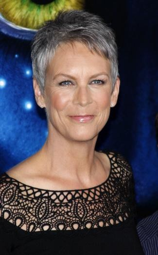 Jamie Lee Curtis, gray hair pixie cut. Grey isn't an age its a state of mind. Embrace your grey. For ageless hair consultation book online www.pauledmonds.com
