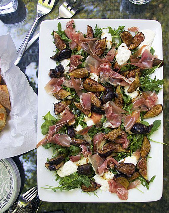 Grilled Figs Prosciutto and Buratta