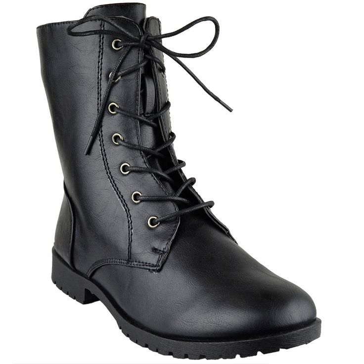Womens Ankle Boots Lace Up Zipper Closure Motorcycle Riding Shoes Black
