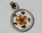 Real Flower Pendant, Peach Flower and Chervil Petals, With Real Italian Flowers, Pressed and Dried, Sterling Silver Pendant