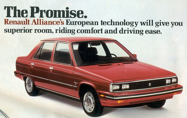 1986 Renault Alliance 4 Door Sedan. A weird time for Chrysler\ AMC....Ours was gray.  We had this car when we moved up North