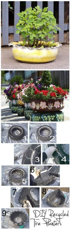 recycled tire planters. That one is painted ugly, but some are pretty cute.