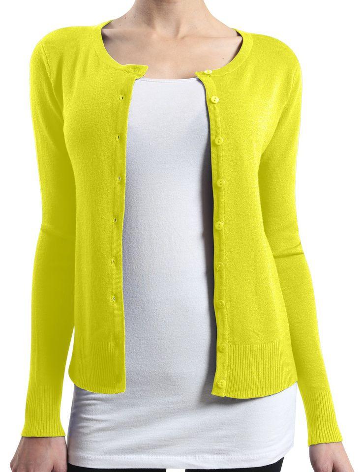 LE3NO Womens Basic Round Neck Fine Knit Cardigan at Amazon Women's Clothing store: