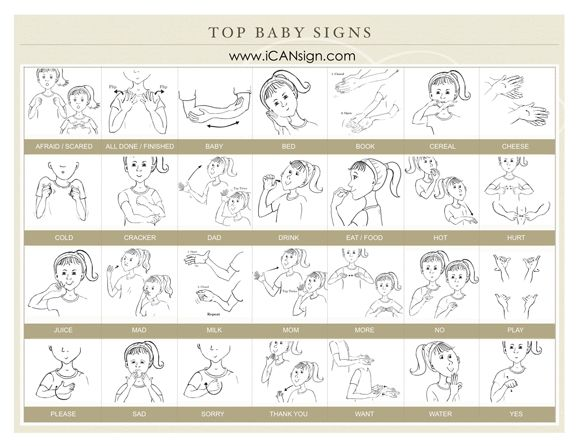 Our Top 30 Baby Sign Language Signs to make your caregiver's experience with your child easier! Baby Sign Language Reference Chart for Caregivers