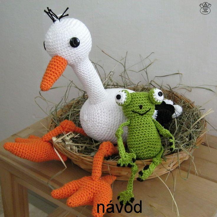 Čáp bílý se žabkou/The white Stork Návod na háčkování/Crochet pattern and tutorial