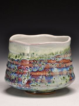 Dick Lehman Pottery, a gallery of wood fired, saggar fired, and side fired ceramics and clay in Goshen, Indiana - Trout-Skin Tea Bowl - Chawan