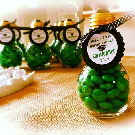 Graduation Favors by Love Is In Details Here's to A Bright Future Favor - Glass Light Bulb Jars filled with chocolate in your school's colors. Tied off with personalized handmade tags. www.loveisindetails.com