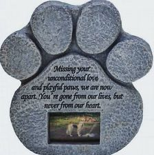 Paw Print Pet Memorial Stone -- Features A Photo Frame And Sympathy Poem - Indoo
