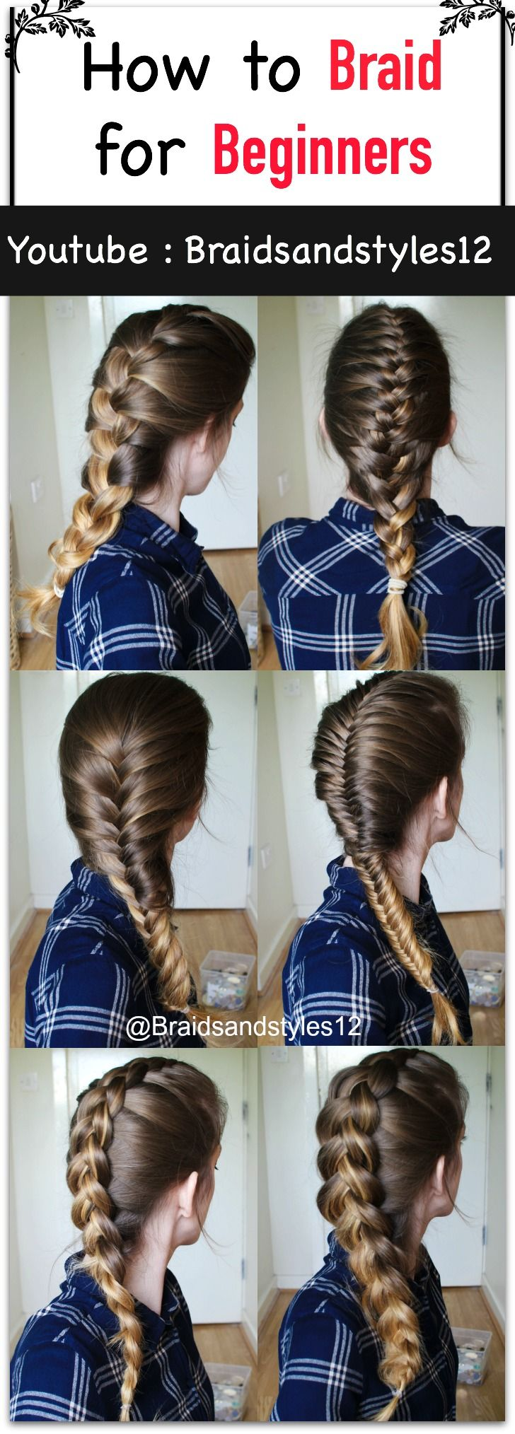 How to Braid your Own Hair for Beginners by Braidsandstyles12. Click the  below or the pin for a tutorial! :)   Youtube Tutorial : https://www.youtube.com/watch?v=mo2PpLvCqZA