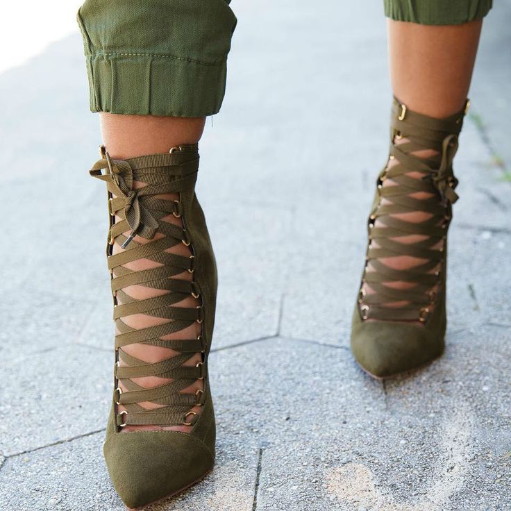 Ribbon Lace up Pointy Stiletto Booties ALL WOMEN'S SHOES http://amzn.to/2kR0oA8