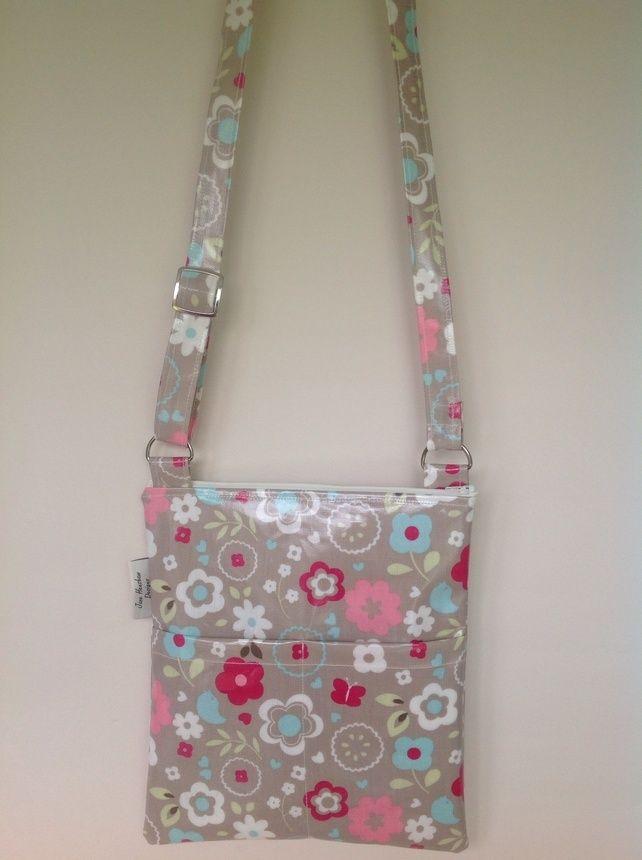 Retro Oilcloth Lined Messenger Bag cross body bag £16.99