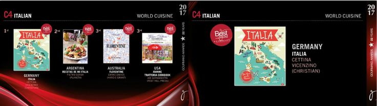 In December 2016, ITALIA was the national winner by countries (Germany) in its category: Best Italian Cuisine Book. In May 28, 2017, ITALIA competed in his category against winners from other countries for the Best Italian Cuisine Book in the World. It won the first place as the best from the best at the annual Gourmand Awards Ceremony in Yantai, China.