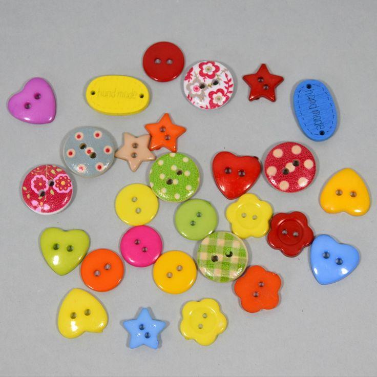 Lot de 30 boutons fantaisie - tons multicolore : Boutons par pikebou