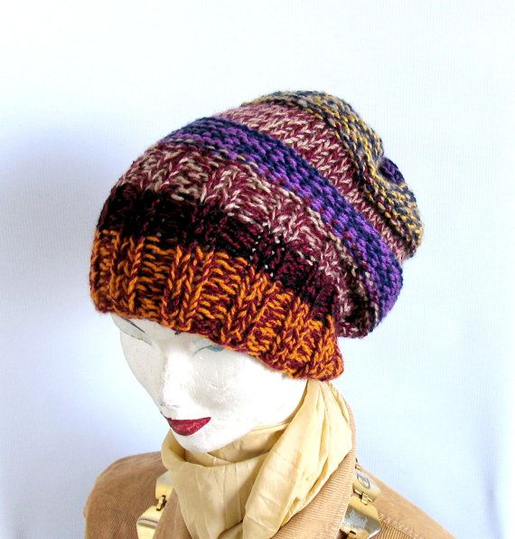 knitted slouchy hat womens wool beanie oversized by recyclingroom, $28.00