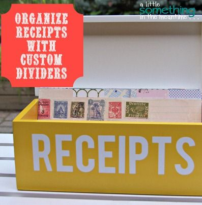 A Little Something in the Meantime: Organize Receipts with Customized Dividers, I SO NEED TO DO THIS...