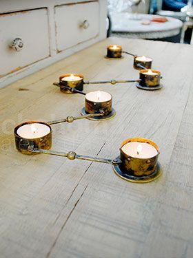 Candleholder w/7  T-light old copper