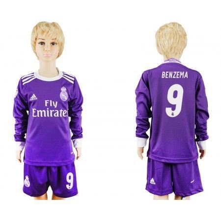 Real Madrid Trøje Børn 16-17 Karim #Benzema 9 Udebanetrøje Lange ærmer,222,01KR,shirtshopservice@gmail.com