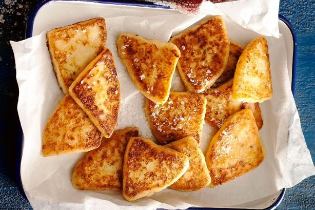 Traditional tattie scones | Double gloucester cheese gives authentic flavour to this British potato side dish.