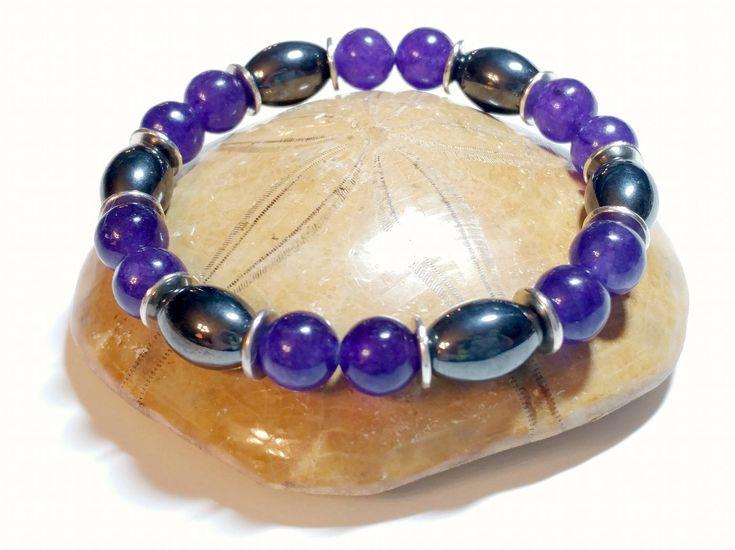 Purple Quartz, Stretch Bracelet, Magnetite, Reiki, Metaphysical Jewelry, Wiccan, Pagan, New Age, Healing, Gypsy Soul, Unisex Witch Spiritual by MoonMajickStudio on Etsy