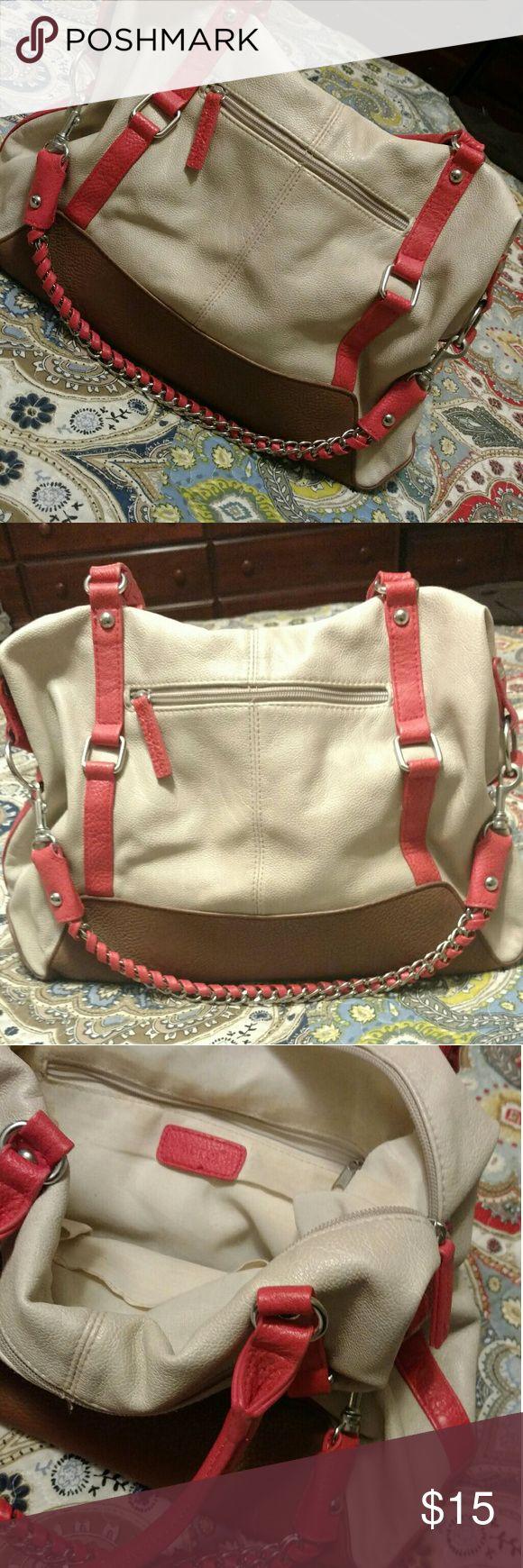 Tan, cream and coral handbag. GUC. Apt 9 brand. Tan, cream and coral handbag. GUC. Apt 9 brand. Apt. 9 Bags