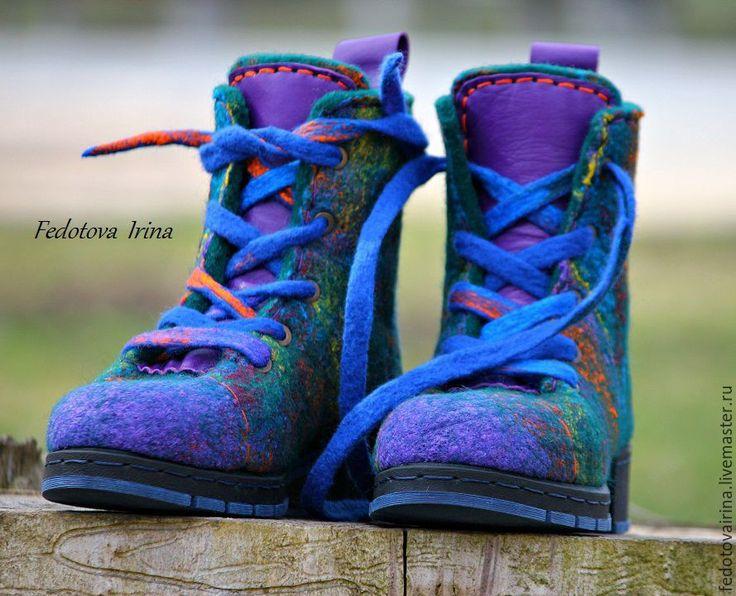 """Купить Ботинки войлочные """"Аметист"""",по мотивам. - комбинированный, фиолетовый, синий, изумрудный, ботинки, ботинки женские"""