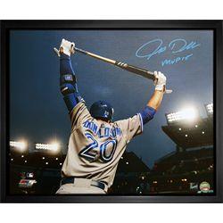 Donaldson,J Signed 16x20 Canvas Framed Blue Jays Gray Stretch Inscribed 2015 MVP