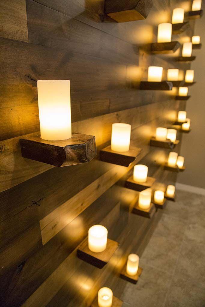 3 Tone Knotty Alder Wood Wall Covering W Live Edge Shelves Massage Room Decor Spa Room Decor Spa Treatment Room