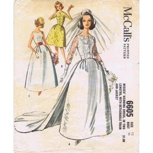 Amazon McCalls 6605 Brides Wedding Dress Detachable Train Jacket 1960s Vintage Sewing Pattern