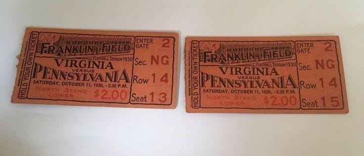 Vintage Ticket Stub Collage Football 1930 Virginia Versus Pennsylvania  #VirginiaVsPennsylvania