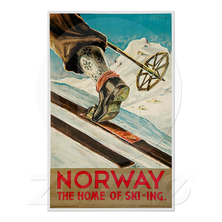 Norway The Home of Skiing Vintage Travel Poster at Zazzle.ca