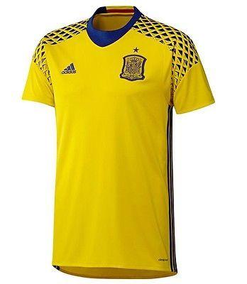 Brand New Spain Adidas Mens Goalkeeper Jersey Goalie Top Size Large Short Sleeve